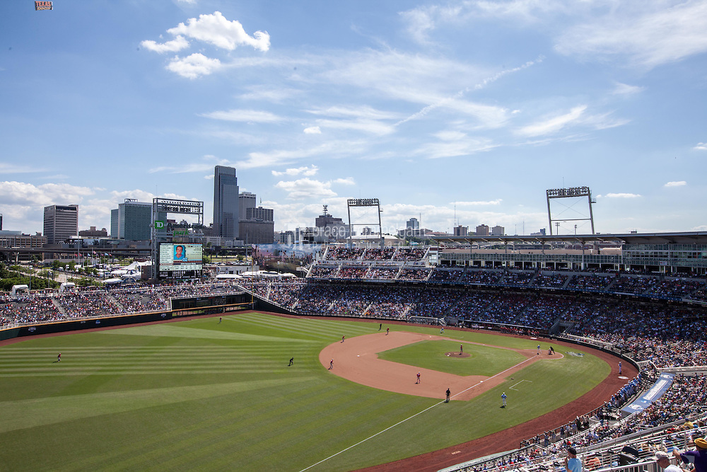 A general view of TD Ameritrade Park during Game 3 of the 2013 Men's College World Series between the North Carolina State Wolfpack and North Carolina Tar Heels on June 16, 2013 in Omaha, Nebraska. The Wolfpack defeated the Tar Heels 8-1. (Brace Hemmelgarn)