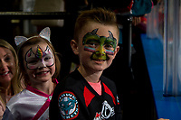 KELOWNA, BC - SEPTEMBER 21:   Young fans watch warm up of the Kelowna Rockets against the Spokane Chiefs at Prospera Place on September 21, 2019 in Kelowna, Canada. (Photo by Marissa Baecker/Shoot the Breeze)