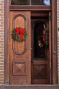 Christmas wreath on door in historic Savannah, GA.