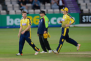 Liam Dawson of Hampshire takes 5-17  during the NatWest T20 Blast South Group match between Hampshire County Cricket Club and Somerset County Cricket Club at the Ageas Bowl, Southampton, United Kingdom on 29 July 2016. Photo by David Vokes.