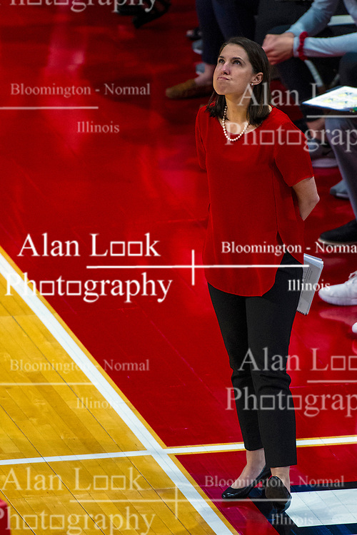 BLOOMINGTON, IL - September 14: Leah Johnson during a college Women's volleyball match between the ISU Redbirds and the University of Central Florida (UCF) Knights on September 14 2019 at Illinois State University in Normal, IL. (Photo by Alan Look)