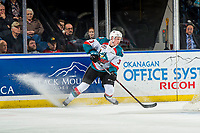 KELOWNA, CANADA - JANUARY 19:  Dalton Gally #3 of the Kelowna Rockets stops behind the net with the puck against the Prince Albert Raiders  on January 19, 2019 at Prospera Place in Kelowna, British Columbia, Canada.  (Photo by Marissa Baecker/Shoot the Breeze)