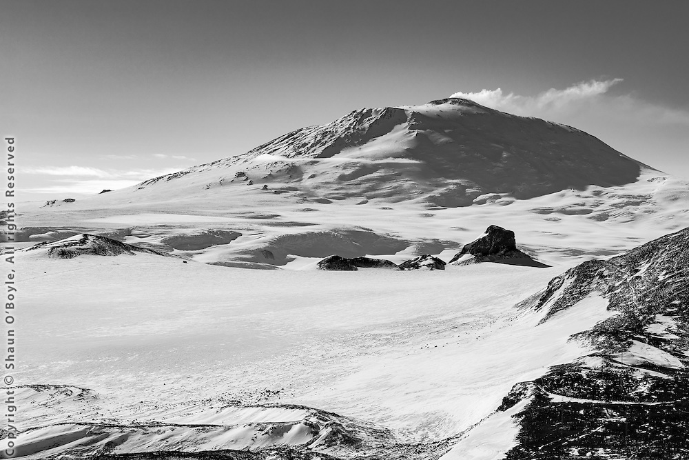 12,400 ft Mount Erebus and Castle Rock, Ross Island, Antarctica