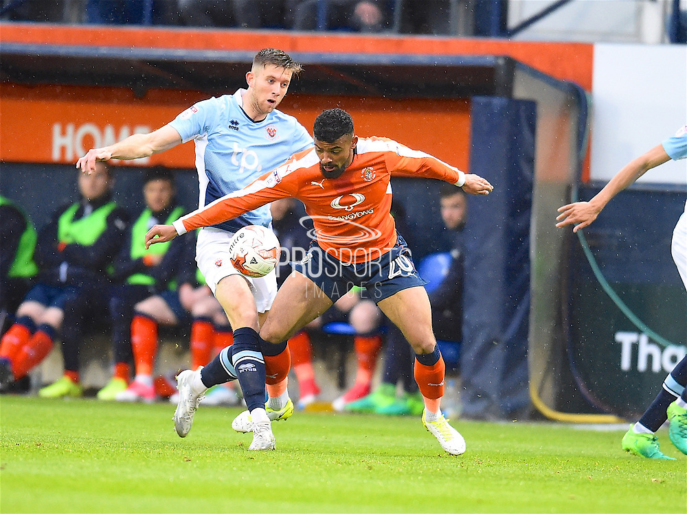Luton Town player Isaac Vassell fights for the ball in the first half during the EFL Sky Bet League 2 play off second leg match between Luton Town and Blackpool at Kenilworth Road, Luton, England on 18 May 2017. Photo by Ian  Muir.*** during the EFL Sky Bet League 2 play off second leg match between Luton Town and Blackpool at Kenilworth Road, Luton, England on 18 May 2017. Photo by Ian  Muir.