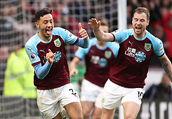 Burnley's Dwight McNeil (left) celebrates scoring his side's second goal of the game with team-mates during the Premier League match at Turf Moor, Burnley.