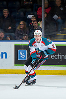 KELOWNA, BC - JANUARY 26:  Lassi Thomson #2 of the Kelowna Rockets skates with the puck against the Vancouver Giants at Prospera Place on January 26, 2019 in Kelowna, Canada. (Photo by Marissa Baecker/Getty Images)