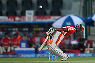 Wriddhiman Saha of the Kings X1 Punjab avoids a delivery from Morne Morkel of the Kolkata Knight Riders during match 15 of the Pepsi Indian Premier League 2014 Season between The Kings XI Punjab and the Kolkata Knight Riders held at the Sheikh Zayed Stadium, Abu Dhabi, United Arab Emirates on the 26th April 2014<br /> <br /> Photo by Ron Gaunt / IPL / SPORTZPICS