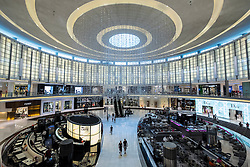 Interior of Fashion Avenue Atrium full of luxury fashion boutiques at Dubai Mall in United Arab Emirates