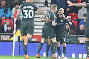David Silva celebrates a goal during the Premier League match between Stoke City and Manchester City at the Bet365 Stadium, Stoke-on-Trent, England on 12 March 2018. Picture by Graham Holt.