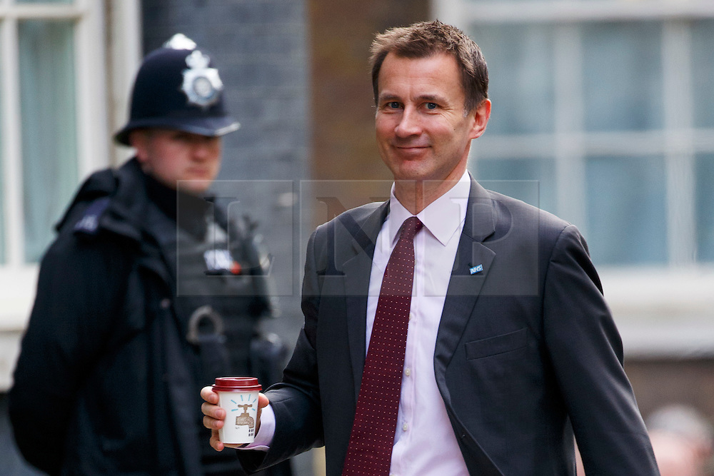 © Licensed to London News Pictures. 20/02/2016. London, UK. Health Secretary JEREMY HUNT attending a cabinet meeting in Downing Street on Saturday, 20 February 2016 after a deal made on the UK's EU membership in Brussels. Photo credit: Tolga Akmen/LNP