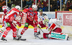01.03.2019, Stadthalle, Klagenfurt, AUT, EBEL, EC KAC vs HCB Suedtirol Alperia, 50. Runde, im Bild Alex PETAN (HCB Suedtirol Alperia, #19), Marcel WITTING (EC KAC, #47), Jacob SMITH (HCB Suedtirol Alperia, #1), Marcel WITTING (EC KAC, #47) // during the Erste Bank Eishockey League 50th round match between EC KAC and HCB Suedtirol Alperia at the Stadthalle in Klagenfurt, Austria on 2019/03/01. EXPA Pictures © 2019, PhotoCredit: EXPA/ Gert Steinthaler