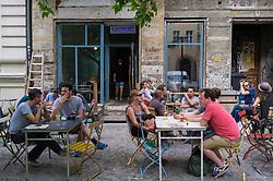 Busy cafe in Prenzlauer Berg in Berlin Germany