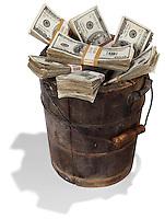 Bucket of cash on white background