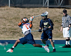 Virginia midfielder Shamel Bratton (1) shoots against Navy.  The Virginia Cavaliers scrimmaged the Navy Midshipmen in lacrosse at the University Hall Turf Field  in Charlottesville, VA on February 2, 2008.