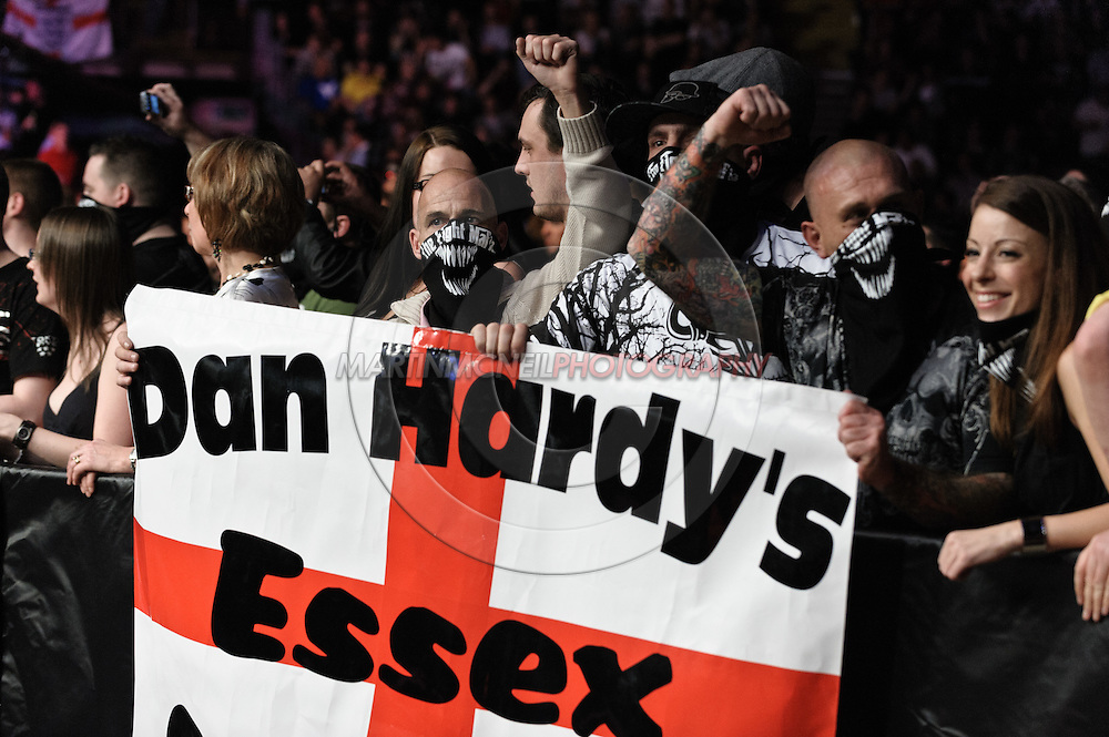 """MANCHESTER, ENGLAND, NOVEMBER 14, 2009: Fans of Dan Hardy hold a banner inside the arena during """"UFC 105: Couture vs. Vera"""" inside the MEN Arena in Manchester, United Kingdom."""