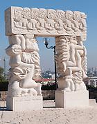 Israel, Old City of Jaffa Statue of Faith (AKA Carved stone doorway) by Daniel Kafri, Abrasha Summit Park (Gan Hapisga), overlooking Tel Aviv.