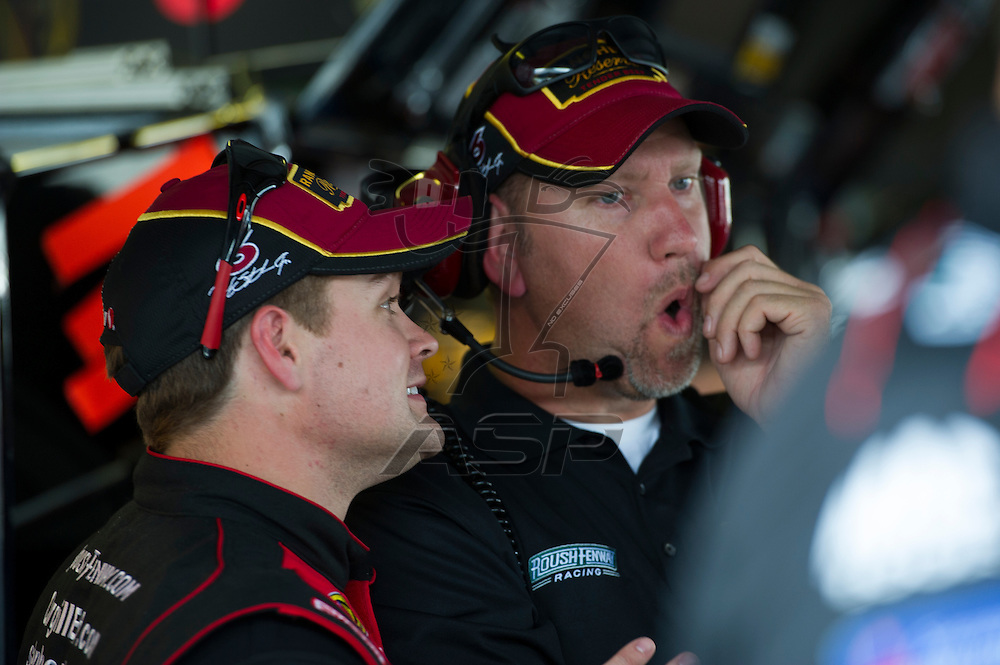 Dover, DE - SEP 28, 2012:  The NASCAR Nationwide Series Teams take to the track during practice for the OneMain Financial 200 at New Hampshire Motor Speedway in Dover, DE.