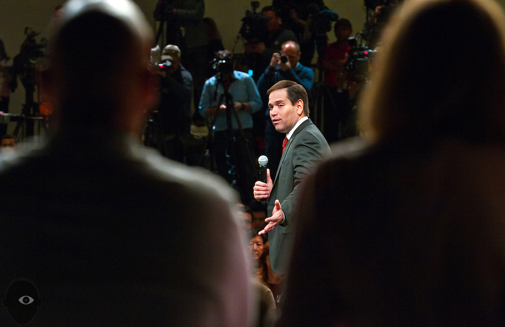 Republican presidential candidate Marco Rubio speaks during a rally in Las Vegas at the Silverton Casino ahead of the Nevada caucuses in the evening on Tuesday, February 23, 2016.