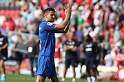 AFC Wimbledon defender Ben Purrington (3) applauds the travelling fans during the EFL Sky Bet League 1 match between Fleetwood Town and AFC Wimbledon at the Highbury Stadium, Fleetwood, England on 4 August 2018. Picture by Craig Galloway.