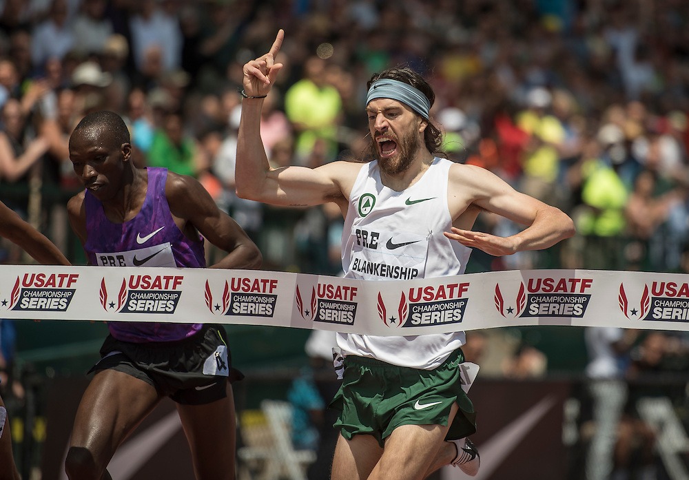 The Prefontaine Classic-2015The USA's Ben Blankenship celebrates his victory in the men's international mile as he crosses the finish line ahead of Kenya's Timothy Cheruiyot (left).