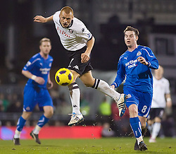 02.02.2011, Craven Cottage, London, ENG, PL, Fulham FC vs Newcastle United, im Bild Fulham's Steve Sidwell heads the ball clear from Newcastle United's Danny Guthrie //  during the Premiership match against Fulham FC vs Newcastle United at Graven Cottage, EXPA Pictures © 2011, PhotoCredit: EXPA/ IPS/ M. Greenwood *** ATTENTION *** UK AND FRANCE OUT!