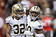 NEW ORLEANS, LA - SEPTEMBER 20:  Delvin Breaux #40 and Kenny Vaccaro #32 of the New Orleans Saints celebrate during a game against the Tampa Bay Buccaneers at Mercedes-Benz Superdome on September 20, 2015 in New Orleans Louisiana.  The Buccaneers defeated the Saints 26-19. (Photo by Wesley Hitt/Getty Images) *** Local Caption *** Delvin Breaux; Kenny Vaccaro