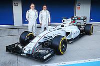 (L to R): Valtteri Bottas (FIN) Williams and team mate Felipe Massa (BRA) Williams unveil the Williams FW37.<br /> Formula One Testing, Day One, Sunday 1st February 2015. Jerez, Spain.