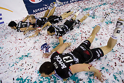 Team of Trentino celebrate at final ceremony after the final match of CEV Indesit Champions League FINAL FOUR tournament between Dinamo Moscow, RUS and Trentino BetClic, ITA on May 2, 2010, at Arena Atlas, Lodz, Poland. Trentino defeated Dinamo 3-0 and became Winner of the Champions League. (Photo by Vid Ponikvar / Sportida)