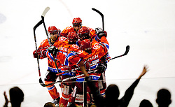 Players of Jesenice celebrate during ice-hockey match between HK Acroni Jesenice and HDD Tilia Olimpija in fourth game of Final at Slovenian National League, on April 8, 2011 at Arena Podmezakla, Jesenice, Slovenia. (Photo by Vid Ponikvar / Sportida)