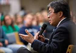 Prof. John Moritsugu speaking during the forum discussion of issues surrounding deaths of African-Americans by police and is sponsored by the Diversity Center, Women's Center and CCES held in the Scandinavian Center at PLU on Thursday, Dec. 4, 2014. (PLU Photo/John Froschauer)