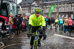 Rider of Tinkoff at Liège, before the start of the 102th edition of Liège-Bastogne-Liège race running 253 km from Liège to Liège, Belgium, 24 April 2016.<br /> Photo by Pim Nijland / PelotonPhotos.com<br /> <br /> All photos usage must carry mandatory copyright credit (© Peloton Photos | Pim Nijland)