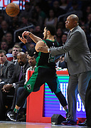 Boston Celtics guard Shane Larkin #8 steps out of bounds and into the hands of LA Clippers head coach Doc Rivers in the 2nd half. The Los Angeles Clippers were defeated by the Boston Celtics 113-102 in a regular season NBA matchup in Los Angeles, CA 1/025/2018 (Photo by John McCoy, Los Angeles Daily News/SCNG)
