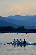 Plovdiv BULGARIA. Late even training at the Plovdive Rowing Lake, TUN JM4X, turn at the end of the course with a view of the [Old Mountain Range]    2012 FISA Junior and Non Olympic . Rowing Championships, Plovdiv Rowing Centre  17:23:37  Monday  13/08/2012  [Mandatory Credit; Peter Spurrier: Intersport Images]
