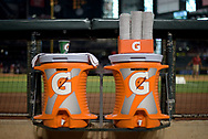 PHOENIX, AZ - JUNE 23:  Gatorade coolers and cups in the dugout at Chase Field between the Philadelphia Phillies and Arizona Diamondbacks MLB game on June 23, 2017 in Phoenix, Arizona. The Philadelphia Phillies won 6-1.  (Photo by Jennifer Stewart/Getty Images)