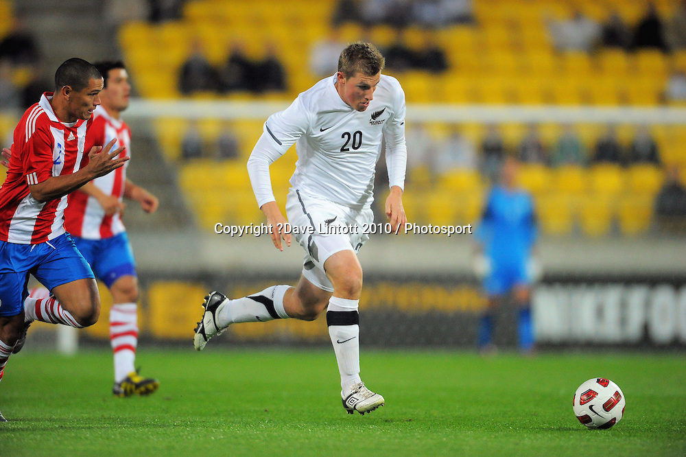 NZ's Chris Wood on attack. International football friendly - New Zealand All Whites v Paraguay at Westpac Stadium, Wellington on Tuesday, 12 October 2010. Photo: Dave Lintott / photosport.co.nz
