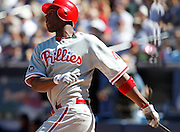 ATLANTA - OCTOBER 3:  Outfielder John Mayberry #40 of the Philadelphia Phillies hits a two run pinch hit home run during the game against the Atlanta Braves at Turner Field on October 3, 2010 in Atlanta, Georgia.  The Braves beat the Phillies 8-7.  (Photo by Mike Zarrilli/Getty Images)