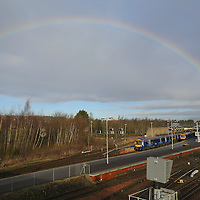 A break in the wind and rain as rainbow forms over Perth railway station...<br /> Picture by Graeme Hart.<br /> Copyright Perthshire Picture Agency<br /> Tel: 01738 623350  Mobile: 07990 594431