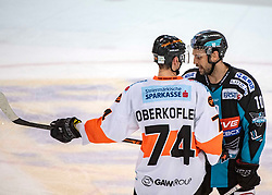 15.03.2019, Keine Sorgen Eisarena, Linz, AUT, EBEL, EHC Liwest Black Wings Linz vs Moser Medical Graz 99ers, Viertelfinale, 2. Spiel, im Bild v.l. Daniel Oberkofler (Moser Medical Graz 99ers), Dragan Umicevic (EHC Liwest Black Wings Linz) // during the Erste Bank Icehockey 2nd quarterfinal match between EHC Liwest Black Wings Linz and Moser Medical Graz 99ers at the Keine Sorgen Eisarena in Linz, Austria on 2019/03/15. EXPA Pictures © 2019, PhotoCredit: EXPA/ Reinhard Eisenbauer