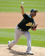 CHICAGO - JUNE 12:  Guillermo Moscoso #52 of the Oakland Athletics pitches against the Chicago White Sox on June 12, 2011 at U.S. Cellular Field in Chicago, Illinois.  The White Sox defeated the Athletics 5-4.  (Photo by Ron Vesely)   Subject:  Guillermo Moscoso
