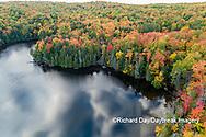 64776-02120 Aerial view of Hugoboom Lake in fall color Alger Co. MI
