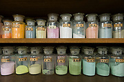 Pigments used to prepare enamel paints. Ando Cloisonne, Nagoya, Aichi Prefecture, Japan, February 26, 2018. Family-owned and run Ando Cloisonne was founded in the 1880s and is the only large manufacturer of cloisonne metalware left in Japan. The cloisonne enamelling process is technologically complex and a single work may feature over 50 colours.