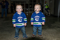 KELOWNA, CANADA - JANUARY 16: Twin fans stand in the foyer on January 16, 2015 at Prospera Place in Kelowna, British Columbia, Canada.  (Photo by Marissa Baecker/Shoot the Breeze)  *** Local Caption *** fans