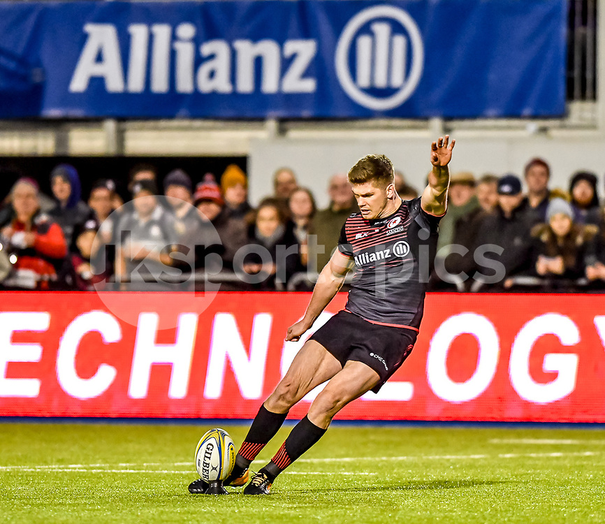 Saracens Owen Farrell kicks for the conversion during the Aviva Premiership match between Saracens and Worcester Warriors at the Allianz Park, London, England on 30 December 2017. Photo by Phil Hutchinson.
