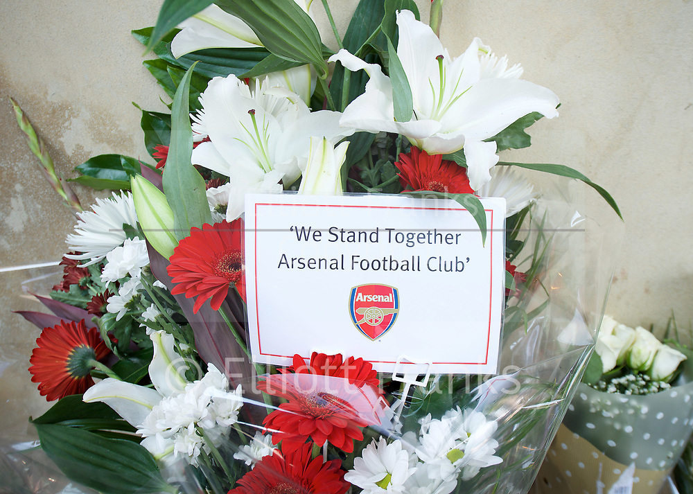 Floral Tributes and messages left outside the Finsbury Park Mosque, Finsbury Park, London, Great Britain <br /> 20th June 2017 <br /> <br /> from Arsenal Football club <br /> <br /> following a terror attack outside  the Muslim Welfare House of Seven Sisters Road early hours of 19th June 2017 <br /> <br /> Photograph by Elliott Franks <br /> Image licensed to Elliott Franks Photography Services