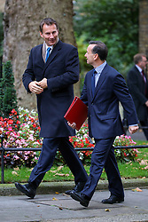 © Licensed to London News Pictures. 18/10/2016. London, UK. Health Secretary JEREMY HUNT and Secretary of Wales ALUN CAIRNS attends a cabinet meeting in Downing Street on Tuesday, 18 October 2016. Photo credit: Tolga Akmen/LNP