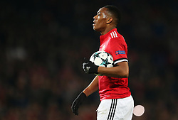 Anthony Martial of Manchester United holds the ball before taking a penalty - Mandatory by-line: Matt McNulty/JMP - 31/10/2017 - FOOTBALL - Old Trafford - Manchester, England - Manchester United v Benfica - UEFA Champions League Group A