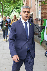 © Licensed to London News Pictures. 14/06/2019. London, UK. London's Mayor Sadiq Khan arrives at St Helen's Church to commemorate the second anniversary of the Grenfell Tower fire. On 14 June 2017, just before 1:00am a fire broke out in the kitchen of the fourth floor flat at the 24-storey residential tower block in North Kensington, West London, which took the lives of 72 people. More than 70 others were injured and 223 people escaped. Photo credit: Dinendra Haria/LNP