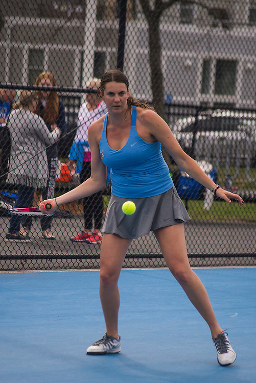 4/1/16 - Medford/Somerville, MA - Conner Calabro hits the ball during the Tufts women's tennis matches against Colby on the Voute Tennis Courts on Apr 1, 2016. (Ray Bernoff / The Tufts Daily)