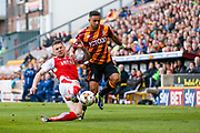 Fleetwood Town Defender Ashley Eastham (5) tackles Bradford City defender James Meredith (3)  during the EFL Sky Bet League 1 play off first leg match between Bradford City and Fleetwood Town at the Coral Windows Stadium, Bradford, England on 4 May 2017. Photo by Simon Davies.