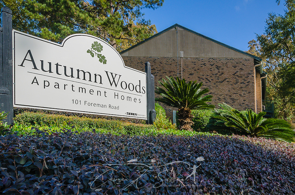 An entrance sign welcomes residents to Autumn Woods apartment homes, November 27, 2015, in Mobile, Alabama. The apartment complex, located on Foreman Road, is owned by Sealy Management Company. (Photo by Carmen K. Sisson/Cloudybright)